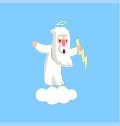 Angry god character standing on fluffy white cloud vector