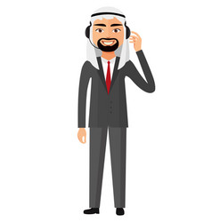 Arab business customer service call center vector