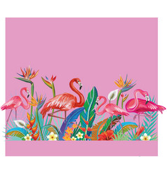 Arrangement from flowers and flamingoes vector