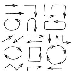 Arrows pencil hand drawn icons vector
