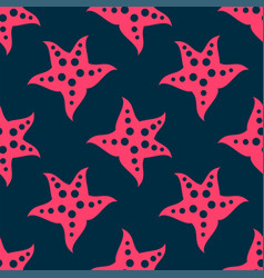 Big pink sea starfish inside summer seamless vector