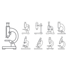 biology microscope icon set outline style vector image