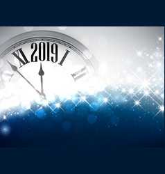 Blue shiny 2019 new year background with clock vector