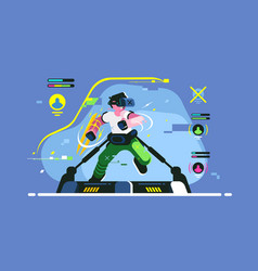 boy playing in vr games vector image