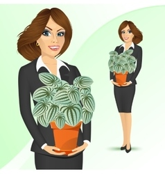 business woman holding peperomia marmorata plant vector image vector image