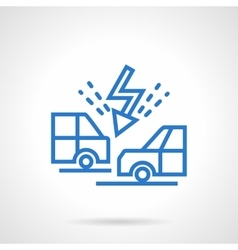 Cars collision blue line icon vector
