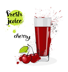 cherry juice fresh hand drawn watercolor fruit and vector image