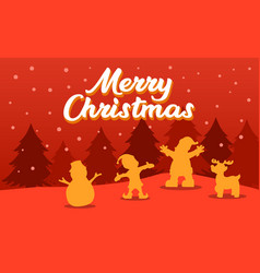 christmas greeting silhouette vector image