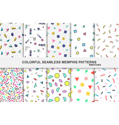 collection abstract memphis colorful patterns vector image
