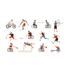 collection male and female paralympic athletes vector image