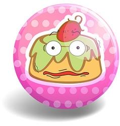 Custard cake on pink badge vector