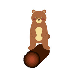 Cute forest bear and wooden natural wildlife vector