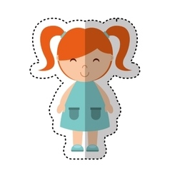 Cute little girl isolated icon vector