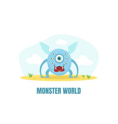 Cute one eyed monster vector