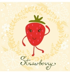 Cute strawberry character vector