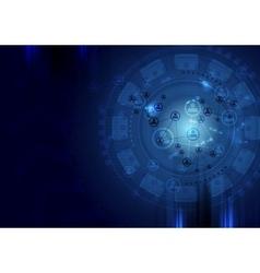 Dark blue technology background vector