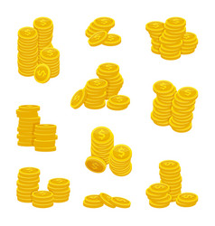 Different stacks golden coins vector