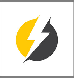 electricity lightning icon logo with circle vector image