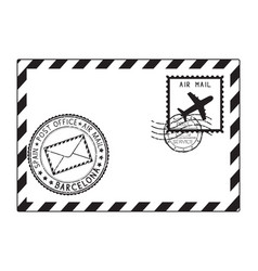 Envelope black icon with postmarks barcelona vector