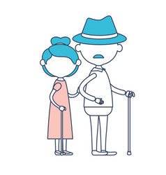 faceless full body elderly couple in walking stick vector image