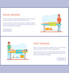 Facial and foot massage session cartoon banner set vector