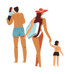 family spending holidays seaside or pool vector image