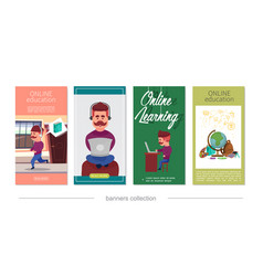 flat online education vertical banners vector image
