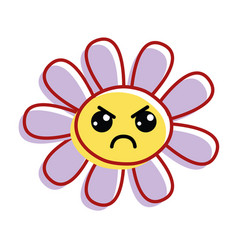 Flower angry cheeks and close eyes vector
