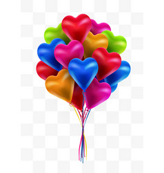 flying bunch multicolored balloon hearts on vector image