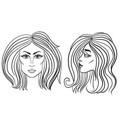 Front and side view of woman face with beautiful vector