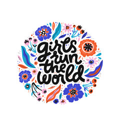 Girls run world hand drawn black lettering vector