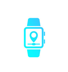 gps tracking with smart watch icon vector image