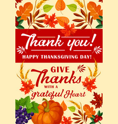 Greeting card for happy thanksgiving day vector