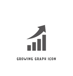 growing graph icon simple flat style vector image