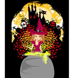 Halloween invitation - witch haunted castle skull vector