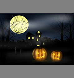 Halloween landscape with castle pumkins and vector