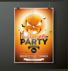 Halloween party with moon on vector