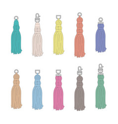 Hand drawn colorful tassel set - isolated flat vector