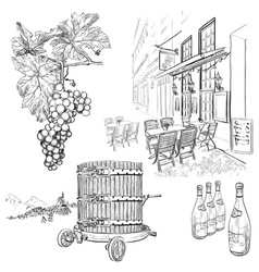 Hand Drawn Vineyard Set vector