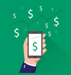 Hand holding phone with dollar sign on screen vector
