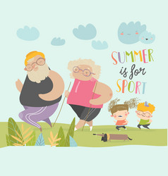 happy grangparents doing sport with little vector image