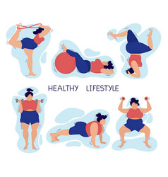 Happy young plus-size girl doing fitness and yoga vector