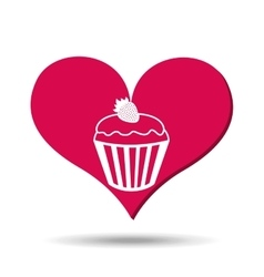Heart red cartoon cupcake strawberry icon design vector