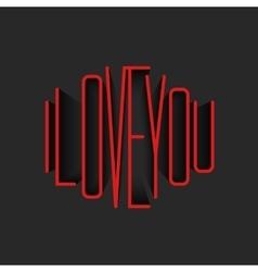 I Love You lettering red monogram poster mockup vector image