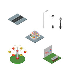 Isometric city set of path plants aiming game vector