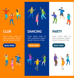 isometric dancing people banner vecrtical set vector image