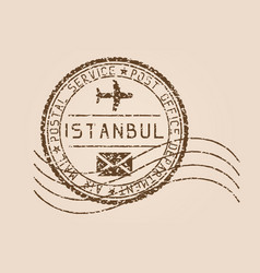 istanbul mail stamp old faded retro styled vector image