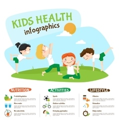 Kids Healthy Lifestyle Yoga Inforgrahic Poster vector