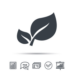 Leaf icon fresh organic product sign vector