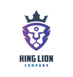 lion kings shield logo design vector image